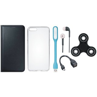 Samsung A6 Stylish Leather Cover with Spinner, Silicon Back Cover, Earphones, USB LED Light and OTG Cable