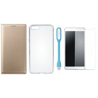 Samsung A6 Leather Flip Cover with Silicon Back Cover, Tempered Glas and USB LED Light by Vivacious