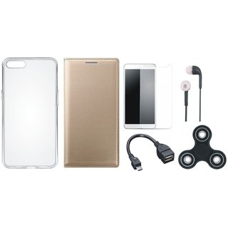 Samsung A6 Premium Leather Case with Spinner, Silicon Back Cover, Tempered Glass, Earphones and OTG Cable