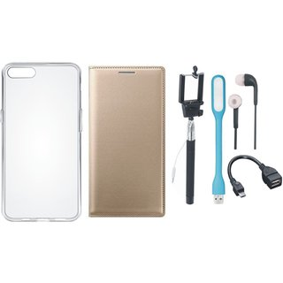 Oppo A83 Leather Flip Cover with Silicon Back Cover, Selfie Stick, Earphones, OTG Cable and USB LED Light by Vivacious