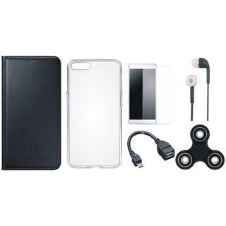 Oppo A83 Stylish Leather Cover with Spinner, Silicon Back Cover, Tempered Glass, Earphones and OTG Cable