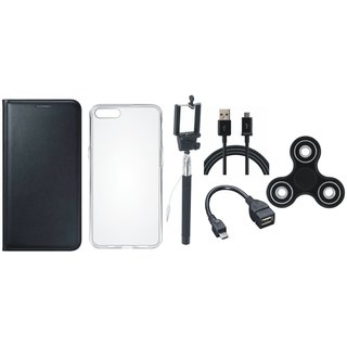 Oppo A83 Cover with Spinner, Silicon Back Cover, Selfie Stick, OTG Cable and USB Cable