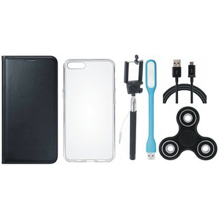 Oppo A83 Sleek Leather Cover with Spinner, Silicon Back Cover, Selfie Stick, USB LED Light and USB Cable by Vivacious