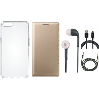 Samsung A6 Premium Quality Leather Cover with Silicon Back Cover, Earphones, USB Cable and AUX Cable by Vivacious