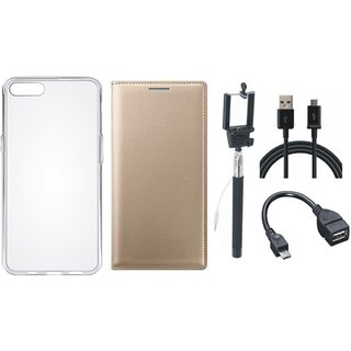 Oppo A83 Stylish Leather Flip Cover with Silicon Back Cover, Selfie Stick, OTG Cable and USB Cable
