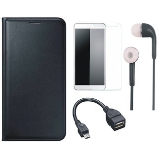 Oppo A83 Leather Flip Cover with Tempered Glass, Earphones and OTG Cable
