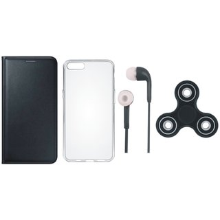 Vivo V9 Sleek Leather Cover with Spinner, Silicon Back Cover and Earphones by Vivacious