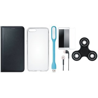 Samsung A6 Plus Premium Leather Cover with Spinner, Silicon Back Cover, Tempered Glass, Earphones and USB LED Light