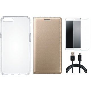 Samsung A6 Plus Stylish Leather Flip Cover with Silicon Back Cover, Tempered Glass and USB Cable