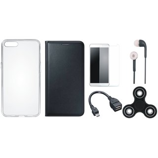 Oppo F7 Sleek Leather Cover with Spinner, Silicon Back Cover, Tempered Glass, Earphones and OTG Cable by Vivacious
