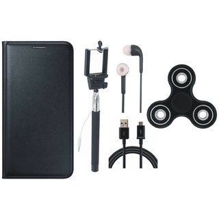 Samsung J7 NXT Premium Leather Cover with Spinner, Selfie Stick, Earphones and USB Cable