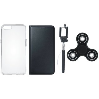 Oppo F7 Premium Leather Case with Spinner, Silicon Back Cover and Selfie Stick by Vivacious