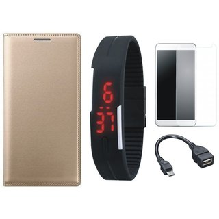 Samsung J7 NXT Leather Flip Cover with Free Digital LED Watch, Tempered Glass and OTG Cable by Vivacious