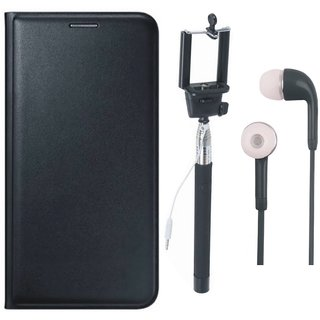 Samsung A6 Plus Premium Quality Leather Cover with Selfie Stick and Earphones