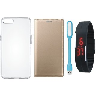 Samsung A6 Plus Stylish Leather Flip Cover with Silicon Back Cover, Digital Watch and USB LED Light