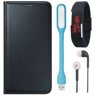 Samsung A6 Plus Premium Quality Leather Cover with Digital Watch, Earphones and USB LED Light