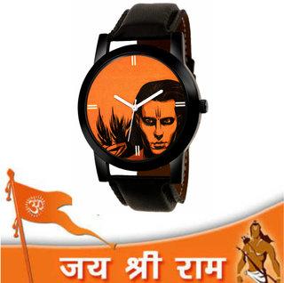 Gen-Z Jai Shree Ram GENZ-SN-RAM-0001 Analog Orange Dial Black Strap Gift Watch for Men