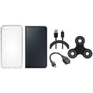 Samsung A6 Plus Premium Leather Cover with Spinner, Silicon Back Cover, OTG Cable and USB Cable