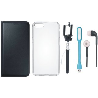 Samsung A6 Plus Premium Quality Leather Cover with Silicon Back Cover, Selfie Stick, Earphones and USB LED Light