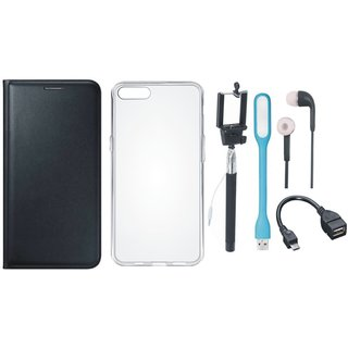 Samsung A6 Plus Flip Cover with Silicon Back Cover, Selfie Stick, Earphones, OTG Cable and USB LED Light