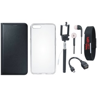 Samsung A6 Plus Flip Cover with Silicon Back Cover, Selfie Stick, Digtal Watch, Earphones and OTG Cable