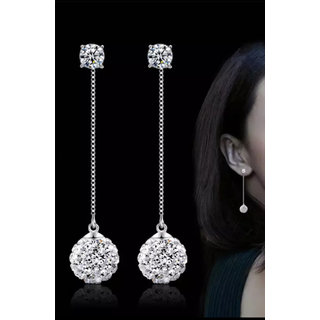 d7a8f52cd6f60 Nilu's Collection Fashion Diva 925 Sterling Silver Long Chain Rhinestone  Ball Tassel Dangle and Drop Earrings