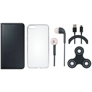 Samsung J4 Stylish Leather Cover with Spinner, Silicon Back Cover, Earphones and USB Cable