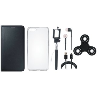 Samsung J4 Stylish Leather Cover with Spinner, Silicon Back Cover, Selfie Stick, Earphones and USB Cable