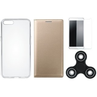 Redmi Y2 Stylish Leather Cover with Spinner, Silicon Back Cover, Tempered Glass by Vivacious
