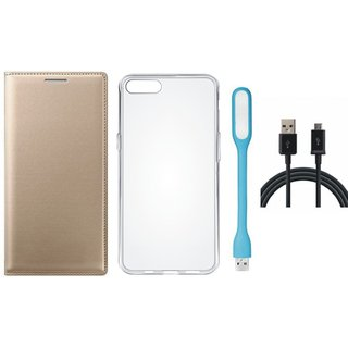 Samsung J4 Leather Flip Cover with Silicon Back Cover, USB LED Light and USB Cable by Vivacious