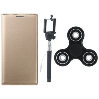 Samsung J4 Premium Leather Case with Spinner, Free Silicon Back Cover and Selfie Stick