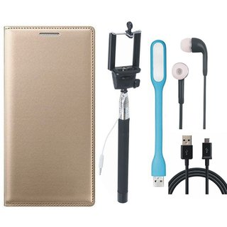 Samsung J4 Stylish Leather Flip Cover with Selfie Stick, Earphones, USB LED Light and USB Cable