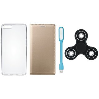 Samsung J4 Premium Leather Cover with Spinner, Silicon Back Cover, USB LED Light by Vivacious