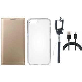Samsung J4 Leather Flip Cover with Silicon Back Cover, Selfie Stick and USB Cable by Vivacious
