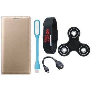 Samsung J4 Premium Leather Case with Spinner, Digital Watch, OTG Cable and USB LED Light