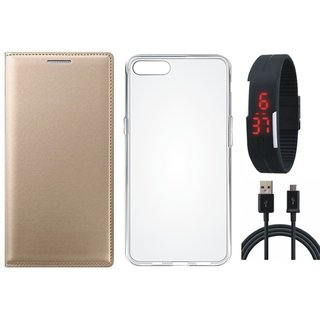 Samsung J4 Leather Flip Cover with Silicon Back Cover, Digital Watch and USB Cable by Vivacious