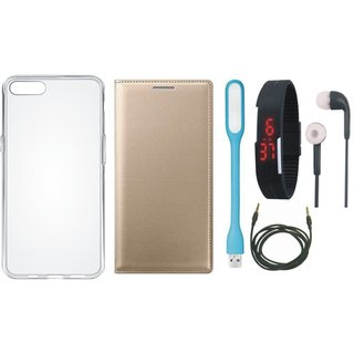 Redmi Y2 Leather Flip Cover with Silicon Back Cover, Digital Watch, Earphones, USB LED Light and AUX Cable by Vivacious