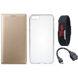 Samsung J4 Leather Flip Cover with Silicon Back Cover, Digital Watch and OTG Cable by Vivacious