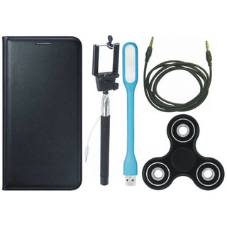 Samsung J4 Sleek Leather Cover with Spinner, Selfie Stick, USB LED Light and AUX Cable by Vivacious