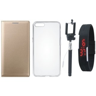 Samsung J4 Leather Flip Cover with Silicon Back Cover, Selfie Stick and Digtal Watch by Vivacious