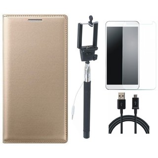 Samsung J4 Leather Flip Cover with Free Selfie Stick, Tempered Glass and USB Cable by Vivacious