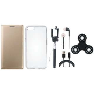 Samsung J4 Stylish Leather Cover with Spinner, Silicon Back Cover, Selfie Stick, Earphones and USB Cable by Vivacious
