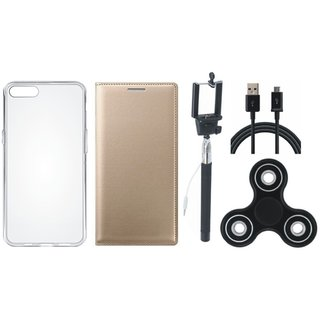 Vivo V5 Stylish Leather Cover with Spinner, Silicon Back Cover, Selfie Stick and USB Cable by Vivacious