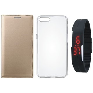 Vivo V5 Premium Quality Leather Cover with Silicon Back Cover, Digital Watch by Vivacious