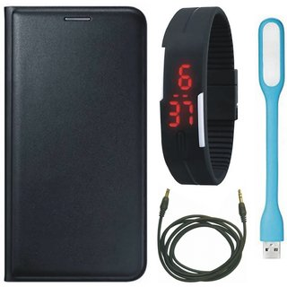 Samsung J8 Stylish Leather Flip Cover with Digital Watch, USB LED Light and AUX Cable by Vivacious