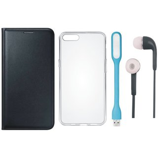Vivo V5 Plus Leather Flip Cover with Silicon Back Cover, Earphones and USB LED Light