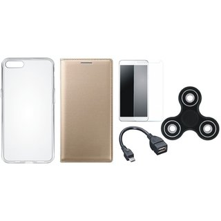 Vivo Y83 Sleek Leather Cover with Spinner, Silicon Back Cover, Tempered Glass and OTG Cable