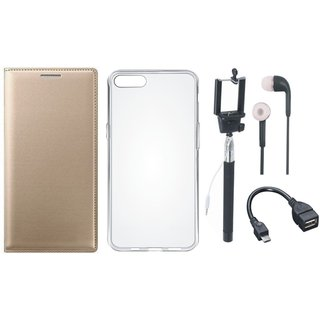 Vivo Y83 Stylish Cover with Silicon Back Cover, Selfie Stick, Earphones and OTG Cable