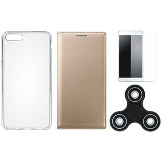 Vivo Y83 Sleek Leather Cover with Spinner, Silicon Back Cover, Tempered Glass
