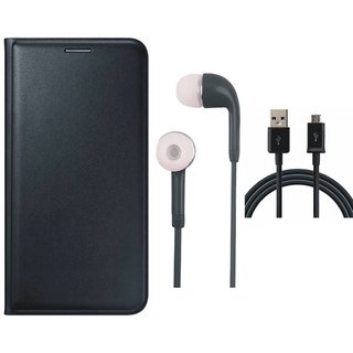 Vivo Y83 Leather Flip Cover with Earphones and USB Cable